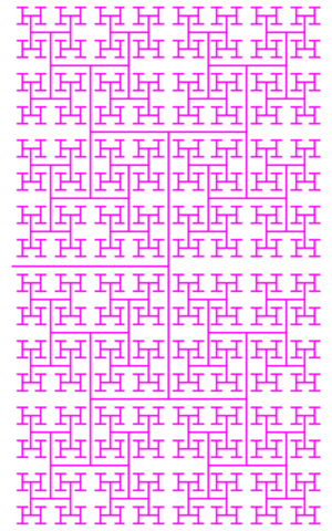 H fractal. Its fractal dimension equals 2.