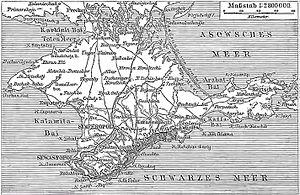 Historic German map of Crimea, 1888 November.