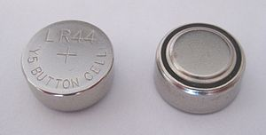 English: Two identical LR44 button cell alkali...