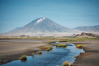 Ol Doinyo Lengai, seen from Lake Natron (wikipedia)