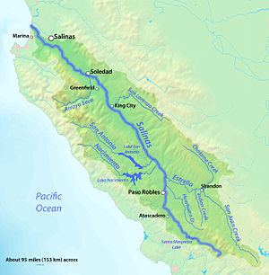 English: Map of the Salinas River watershed, w...