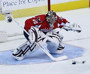 Simeon Varlamov plays goalie for the Washingto...
