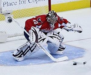 Simeon Varlamov plays goalie for the Washingto...