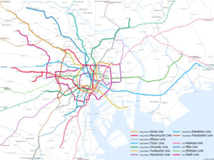 English: Map of Tokyo Metro lines and Toei Sub...