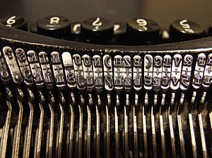 Typebars in a 1920s typewriter