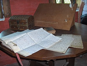 writing desk with medieval documents