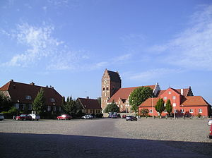 Åhus marketplace with Åhus church