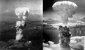 Mushroom clouds over Hiroshima (left) and Naga...
