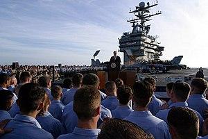 President George W. Bush addresses sailors dur...