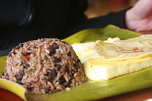Traditional Costa Rican breakfast. Gallo pinto...