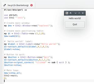 An example Hello world program, written in Per...