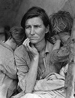 """En """"Madre emigrante"""" la periodista Dorothea Lange reprodujo la imagen de lo que significó la gran depresión."""