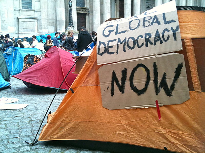 Occupy London tent slogan- real democracy now