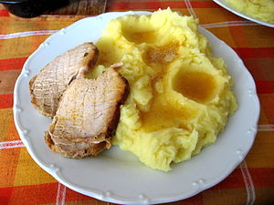 Česky: pečené vepřové, bramborová kaše English...