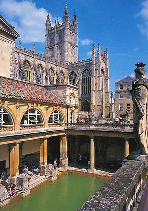 The Roman Baths and Bath Abbey (photo: Wikipedia)