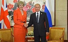 May and Vladimir Putin during the G20 summit in Hangzhou
