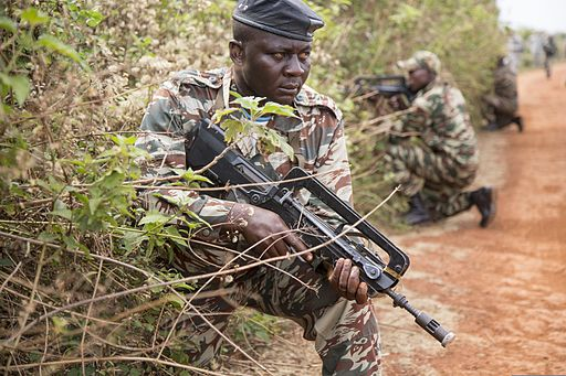 A Cameroon soldier provides security during a patrol as part of a culmination exercise of infantry squad tactics March 18, 2014, during Central Accord 14 in Koutaba, Cameroon 140318-A-IS772-025