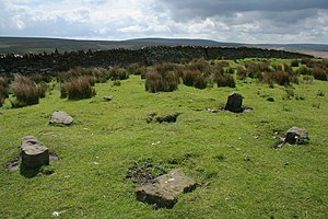 English: Cairn Circle, Extwistle Moor. Looking SE.