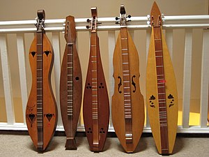 A variety of shaped of Appalachian dulcimer. I...