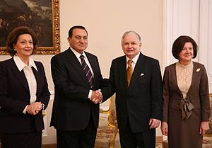 Former First Lady Suzanne Mubarak (left), with...