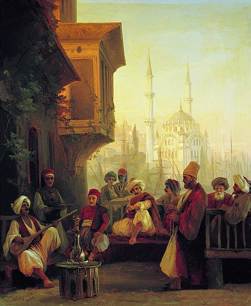 File:Ivan Constantinovich Aivazovsky - Coffee-house by the Ortaköy Mosque in Constantinople.JPG