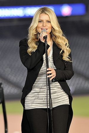 "Jessica Simpson singing ""God Bless Americ..."