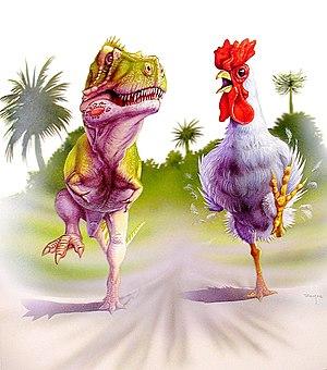 T. rex trotting along beside a T. rex-sized ch...