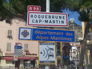 Signs welcoming visitors to the French city of...