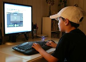 Kid playing on the internet