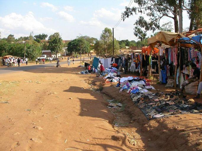 Chipata - roadside clothes vendors