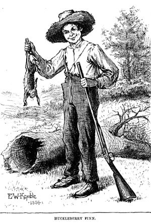 Drawing of Huckleberry finn with a rabbit and ...