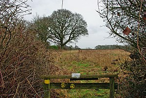 English: Stile with guidance The two footpaths...
