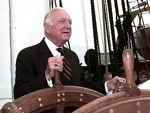 English: Walter Cronkite takes the helm of Con...