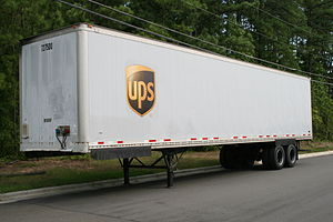 Trailer parked on Fay St adjacent to the UPS f...