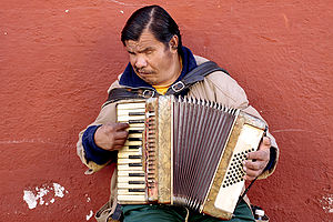 English: Blind accordion player, Patzcuaro, Mi...