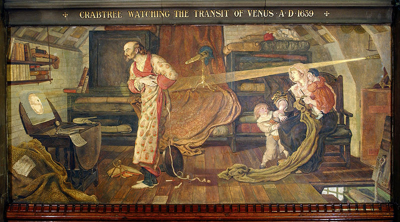 """""""Crabtree watching the Transit of Venus A.D. 1639"""" by Ford Madox Brown, a mural at Manchester Town Hall."""