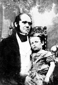 Charles Darwin (age 33) and his son William (n...