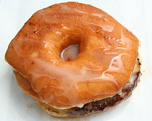Doughnut burger: a bacon cheeseburger served i...