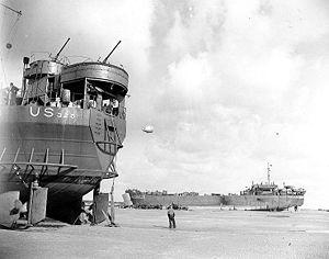 USS LST-325 (left) and USS LST-388 unloading