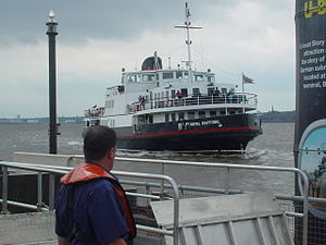 The Mersey Ferry Royal Daffodil approaches the...
