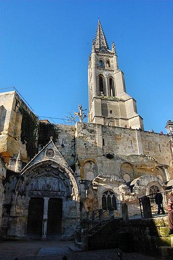 Eglise mololithe de Saint Emilion (Gironde, Fr...