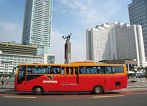 """English: TransJakarta Corridor I bus at """"..."""