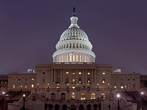 English: US Capitol at night. A mosaic image o...