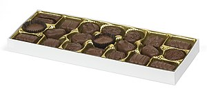 A Russell Stovers box of milk chocolates.