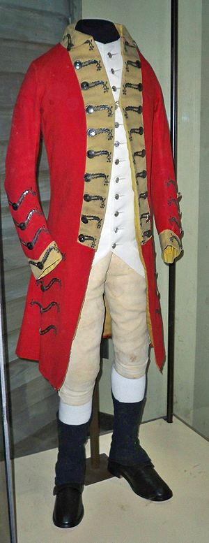 One of the redcoat uniforms worn by British so...