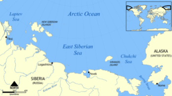 Map showing the location of the East Siberian ...