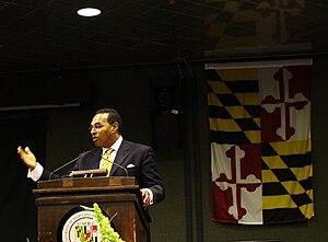 English: Freeman Hrabowski speaking at UMBC Ph...