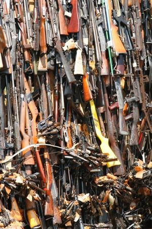 Pyre of smuggled weapons in Uhuru Gardens, Nai...