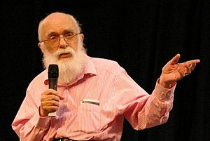 James Randi with some expensive art