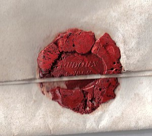 English: A wax seal on a letter from Loudoun C...